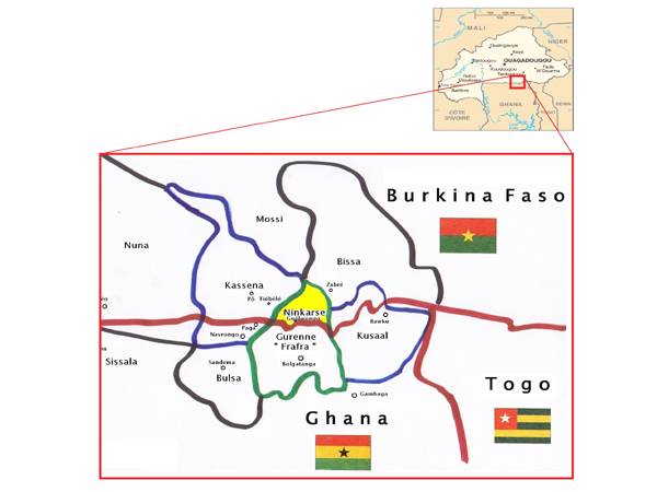 Localisation du Ninkare au Sud du Burkina Faso. Location of the Ninkare speaking area in the south of Burkina Faso.