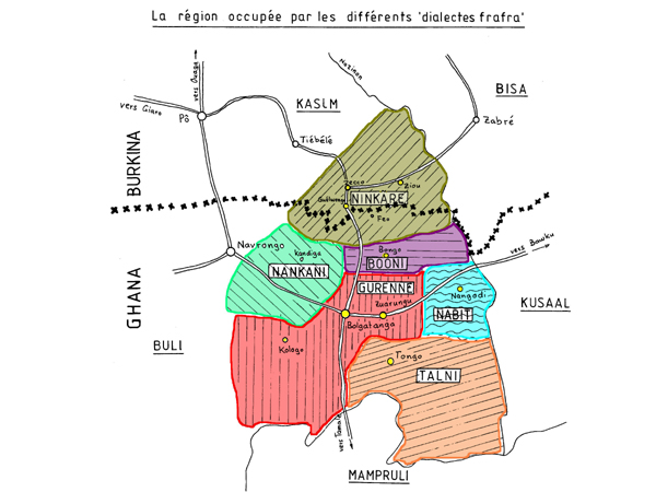 Les différents dialectes «Frafra» au Burkina Faso et au Ghana. The different «Frafra» dialects in Burkina Faso and in Ghana.